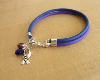 Purple and Blue Awareness Bracelet - Rubber - Rheumatoid Arthritis / RA & Pediatric Stroke