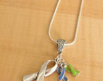 Blue and Green Awareness Necklace - Intracranial Hypertension IH / Pseudotumor Cerebri PTC