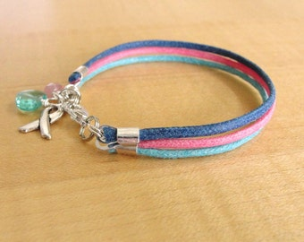 Thyroid Cancer Awareness Bracelet  (Cotton) -  Teal Pink and Blue