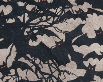 Customized, Hand-crafted Halloween Dog Bandana - Black Bats Fabric
