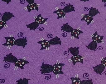 Customized, Hand-crafted Halloween Dog Bandana - Black Cats on Purple Fabric