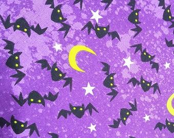 Customized, Hand-crafted Halloween Dog Bandana - Black Bats on Purple Fabric