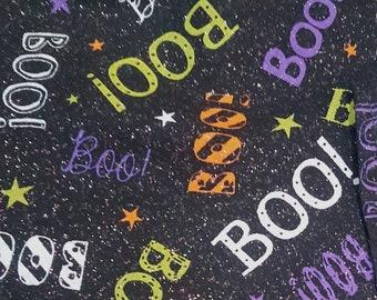 Customized, Hand-crafted Halloween Dog Bandana - Glittery Boo Fabric