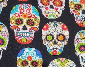 Customized, Hand-crafted Halloween Dog Bandana - Day of the Dead Skulls