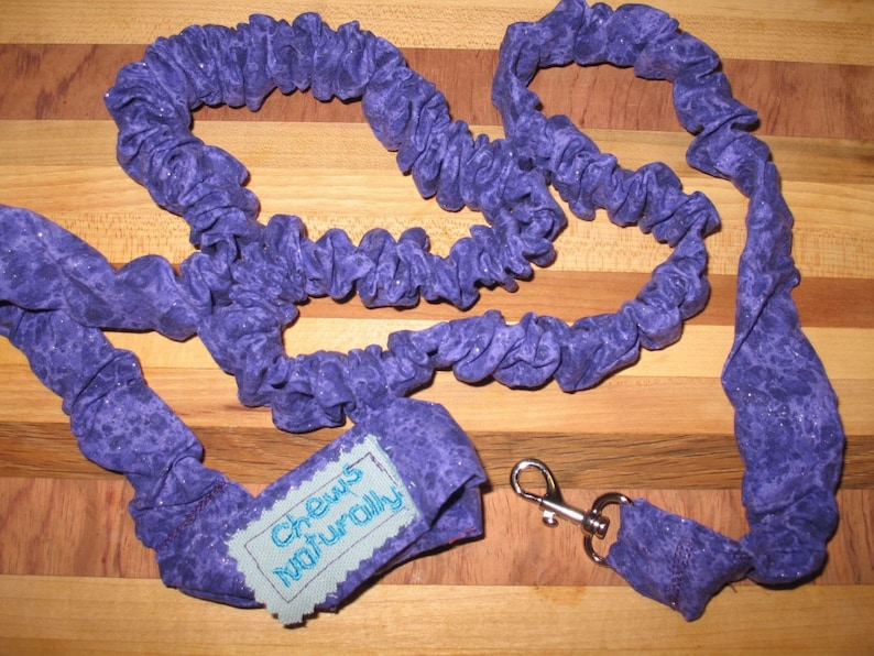 Purple Sparkle Handmade Elastic Stretch/Stretchy Leash image 0