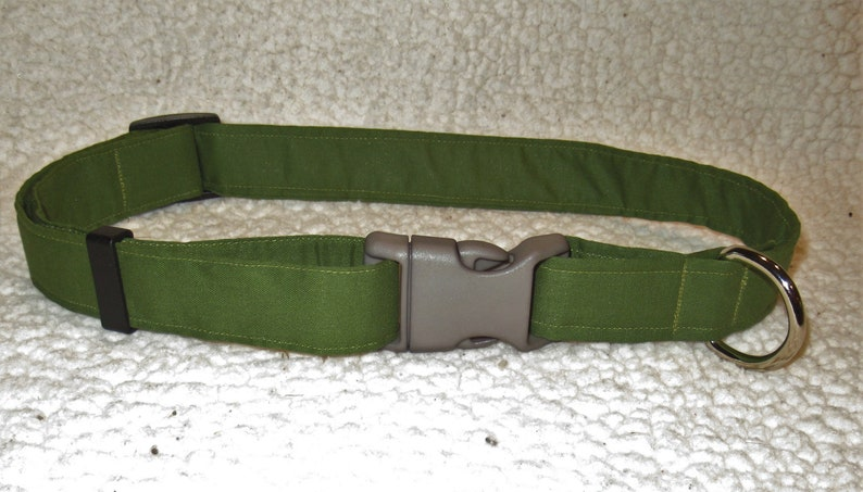 Custom Handmade Extra Large Olive Green Dog Collar image 0