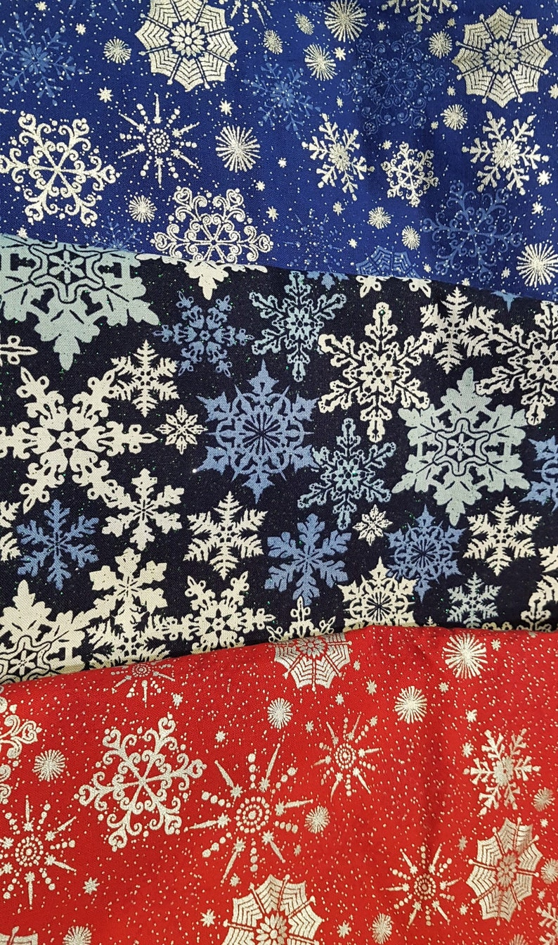 Customized Hand-crafted Snowflake Print Dog Bandana image 0