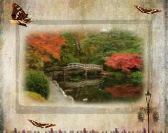 Wooden footbridge, Japanese garden bridge over pond,reflections,photo art compilation,fence,butterflies,flowers,nature photography,gift art