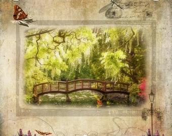 Wooden footbridge, Japanese garden bridge over pond,spring scene,photo art compilation,butterflies,flowers,nature photography,gift art