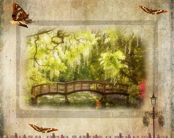 Wooden footbridge, Japanese garden bridge over pond,spring scene,photo art compilation,fence,butterflies,flowers,nature photography,gift art