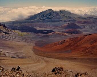 Hawaiian landscape photography,Haleakala volcano photograph,mountain landscape photo,House of the Sun image,crater print,Maui scenic art
