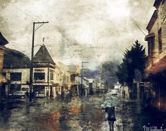 Stormy Day in Skagway,Alaska,main street,cloudy,rainy,buildings,reflections,photoart compilation,digital painting,gift art