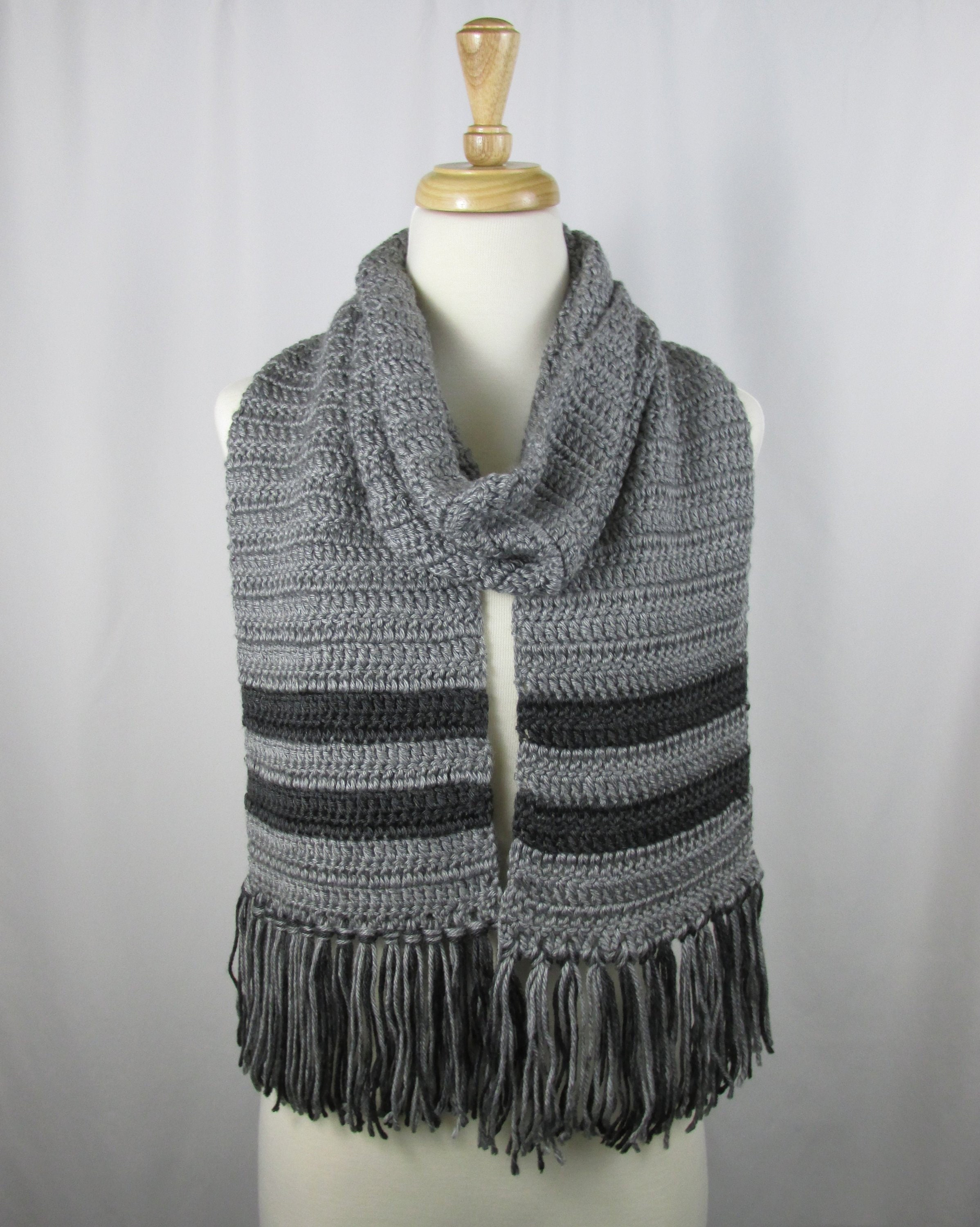 Striped Gray Scarf Winter Scarf Crochet Soft Scarf Gift For Etsy