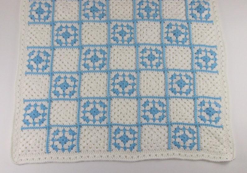 Crochet Newborn Boy Blanket White and Blue Infant Blanket Gift Granny Square Baby Blanket 34x34