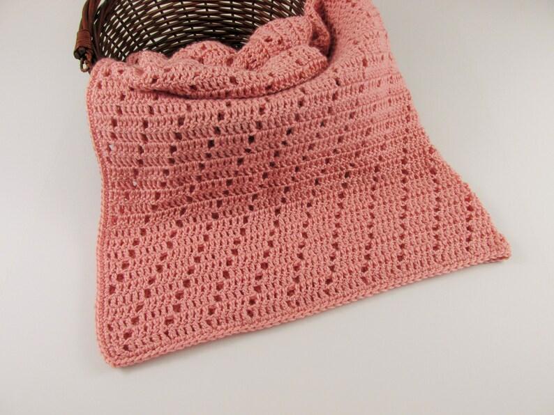 Crochet Baby Blanket 36x36 Infant Girl Blanket Gift Dark Peach Newborn Blanket Soft Baby Boy Blanket