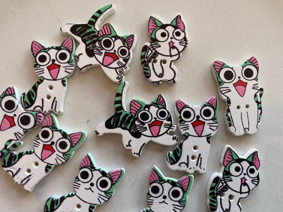 10 x WHITE CAT SHAPED BUTTONS ~ size approx 15mm x 10mm BABIES//CRAFT
