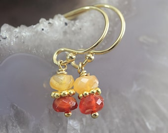 Fire Opal Earrings - Dainty Gemstone Earrings - October Birthstone Earrings - Opal Jewelry - Orange Autumn Earrings