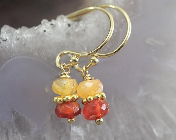 Fire Opal Earrings - October Birthstone Earrings