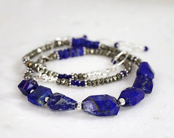 Chunky Lapis Lazuli Necklace - Blue Statement Necklace