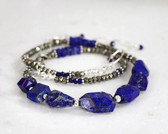 Chunky Lapis Lazuli Necklace - Blue Statement Necklace