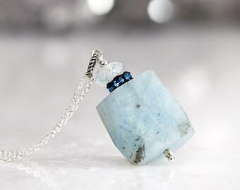 Raw Aquamarine Necklace - Rough Gemstone Jewelry - Blue Stone Necklace - Raw Aquamarine Pendant - March Birthstone - Aquamarine Jewelry