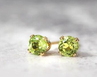 Peridot Earrings - Gold Stud Earrings - Peridot Jewellery - Tiny Earrings - Peridot Stud Earrings - August Birthstone - Green Earrings