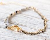 Dendritic Opal Bracelet - Opal and Citrine Bracelet - October Birthstone & November Birthstone - Opal Jewelry - Dainty Bracelet