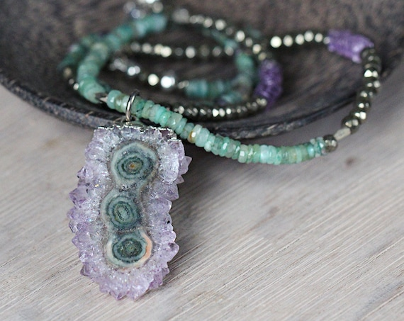 Long Emerald and Amethyst Necklace - Unique Stalactite Statement Necklace - Boho Luxe Jewelry