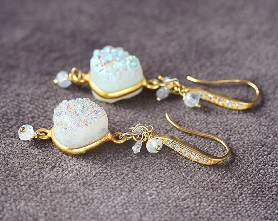 Druzy Statement Earrings - Druzy, Diamond and Moonstone Earrings