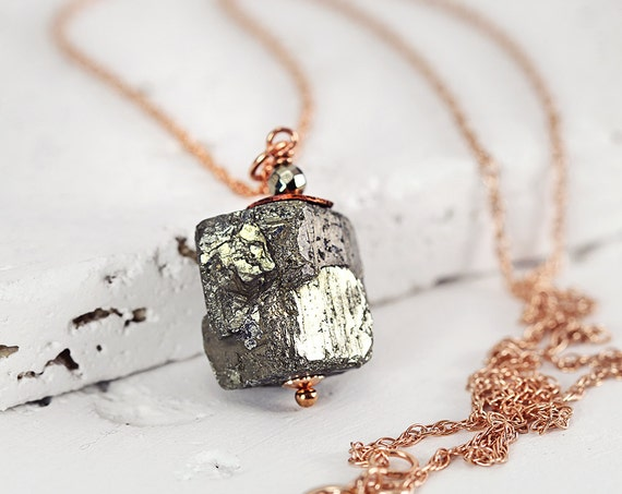 Pyrite Cube Necklace – Rough Stone Necklace