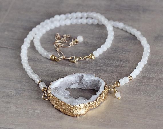 White Druzy Necklace - White Statement Necklace