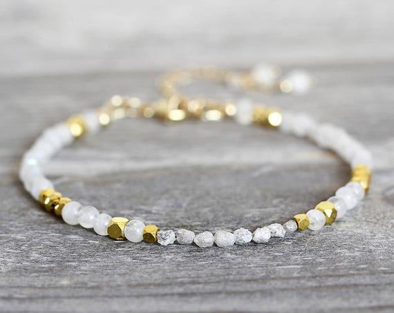 Skinny White Diamond Bracelet - Dainty Moonstone Bracelet