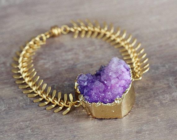 Purple Statement Bracelet - Purple Druzy Bracelet