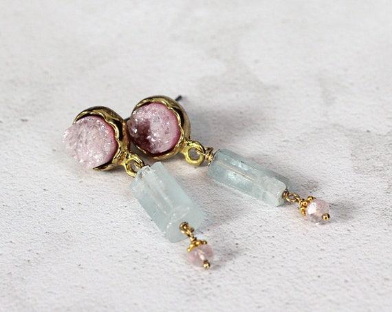 Raw Aquamarine Earrings - Druzy Drop Earrings