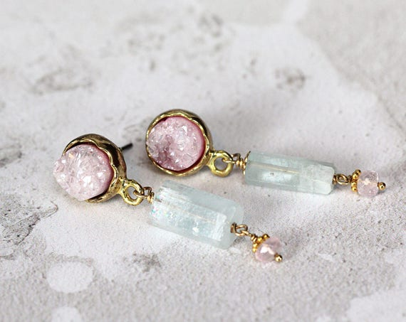 Alternative Wedding Earrings - Aquamarine & Rose Quartz Earrings