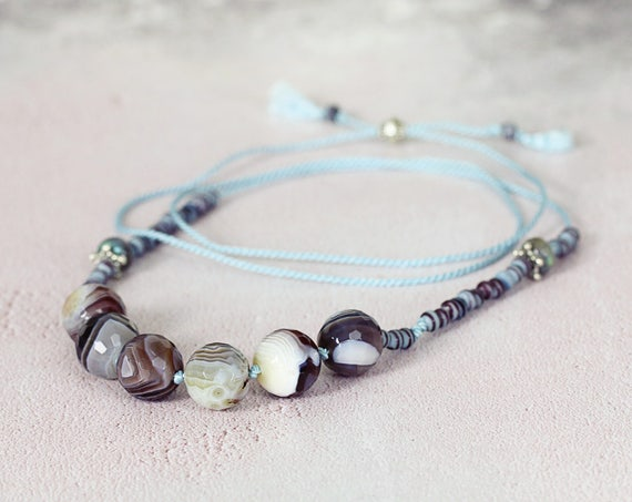 Botswana Agate Necklace - Hand Knotted Necklace