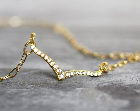 Wishbone Necklace - Cubic Zirconia Necklace