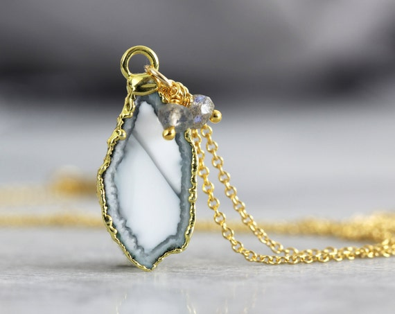 White Geode Necklace - Geode, Gemstone & Diamond Pendant