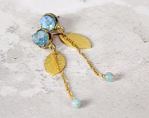 Blue Druzy Earrings - Long Gold Earrings