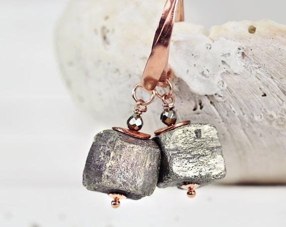 Pyrite Cube Earrings – Raw Stone Earrings