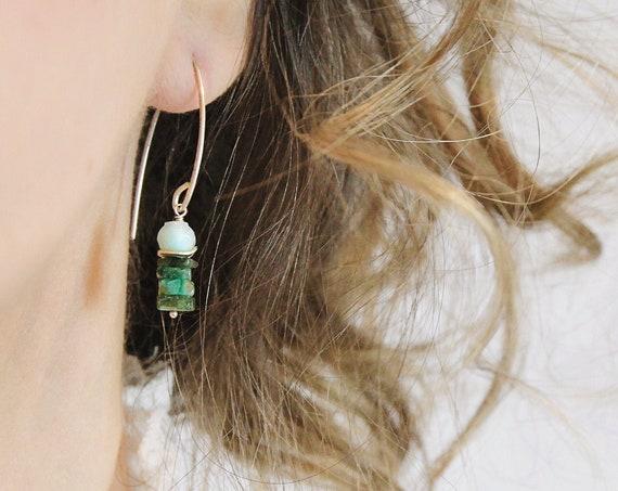 Emerald Dangle Earrings - Emerald Amazonite Earrings