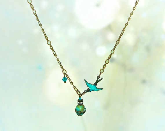 Blue Bird Necklace - Dainty Turquoise Necklace