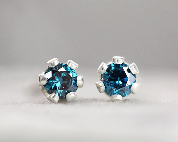 Tiny Blue Diamond Studs - 2mm Blue Diamond Earrings