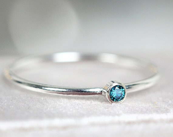 Teal Blue Diamond Ring - Blue Diamond Solitaire  Engagement Ring