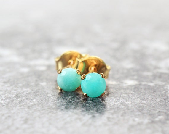 Amazonite Stud Earrings - Calming Crystal Jewelry