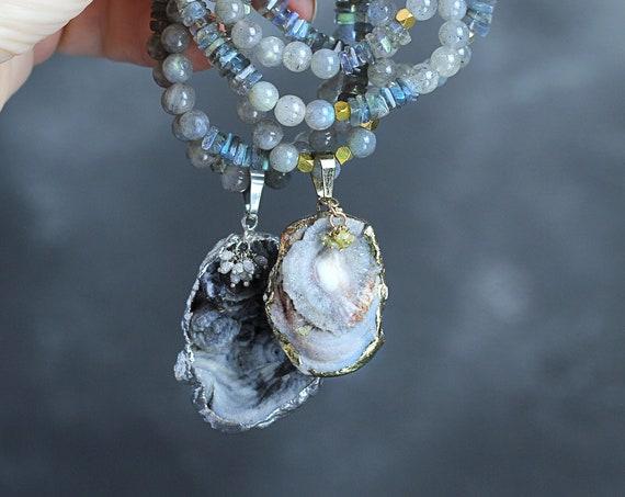 Diamond, Druzy & Labradorite Necklace - Gray Necklace