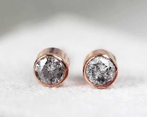 Grey Diamond Stud Earrings - Rose Gold Stud Earrings - Tiny Stud Earrings