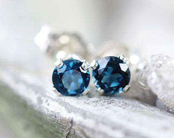 Silver Blue Topaz Stud Earrings - Earrings For Sister