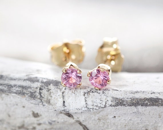 Pink Sapphire Earrings - Pink Sapphire Studs