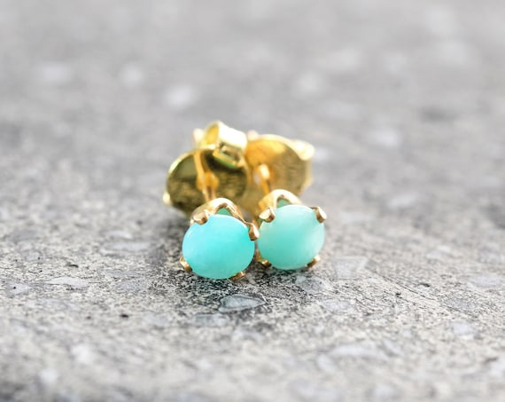 Amazonite Stud Earrings - Calming Crystal Jewelry